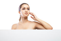 Beautiful face of woman with clean skin isolated Royalty Free Stock Photos