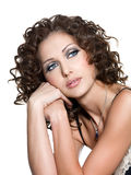 Beautiful face of woman with fashion makeup Royalty Free Stock Photography