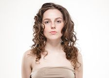 Beautiful face woman freckles and curly fly hair. Nice smile portrait Stock Photography