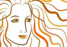 Beautiful face of woman with ginger wavy hair Stock Image
