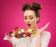 Face, fun, fruit bouquet, pink royalty free stock images