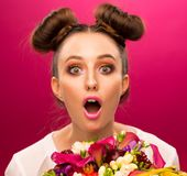 Face, fun, fruit bouquet, pink royalty free stock image