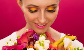 Face, fun, fruit bouquet, pink royalty free stock photo