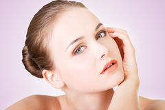 Beautiful face of woman with healthy clean skin. Royalty Free Stock Image