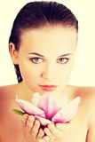 Beautiful face of woman with healthy clean skin. Stock Images