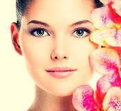 Beautiful face of woman with healthy skin. Royalty Free Stock Photo