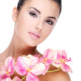 Beautiful face of  woman with healthy skin Stock Photos