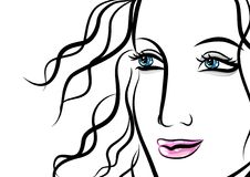 Beautiful face of woman with wavy hair Royalty Free Stock Image