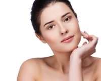 Beautiful face of young adult woman with clean fresh skin Royalty Free Stock Photography