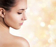 Beautiful face of young adult woman. Royalty Free Stock Image