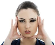 Beautiful face of young adult woman with clean fresh skin - isol Royalty Free Stock Photo