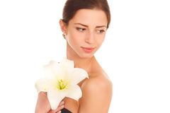 Beautiful face of young adult woman with clean fresh skin - isol Royalty Free Stock Photography