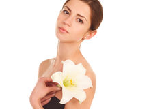 Beautiful face of young adult woman with clean fresh skin - isol Stock Photos