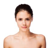 Beautiful face of young adult woman with clean fresh skin Stock Images