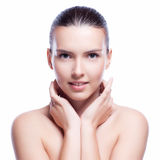 Beautiful face of young adult woman with clean fresh skin Royalty Free Stock Photo