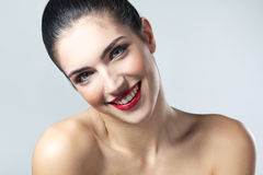 Beautiful face of young adult woman with clean fresh skin Royalty Free Stock Photos