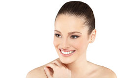Beautiful face of young adult woman with clean skin Royalty Free Stock Photo