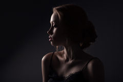 Beautiful face of young adult woman Royalty Free Stock Photos