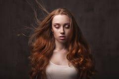 Beautiful face of young adult woman Stock Photos