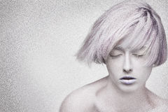 Beautiful face of young dreaming woman, noise aded Royalty Free Stock Photography