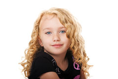 Beautiful face of a young girl. Beautiful happy smiling face of a young girl with golden blond hair and blue eyes, isolated Royalty Free Stock Photos