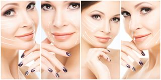 Beautiful face of young and healthy girl in collage collection. Plastic surgery, skin care, cosmetics and face lifting royalty free stock images