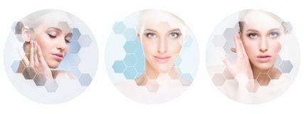 Beautiful face of young and healthy girl in collage. Plastic surgery, skin care, cosmetics and face lifting concept. royalty free stock image
