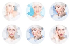 Beautiful face of young and healthy girl in collage. Plastic surgery, skin care, cosmetics and face lifting concept. stock photo