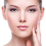 Beautiful face of the young pretty woman with fresh skin stock images
