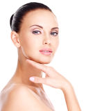 Beautiful   face of the young pretty woman with fresh skin Royalty Free Stock Photo