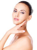 Beautiful   face of the young pretty woman. Stock Photos
