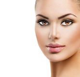 Beautiful Face of Young Woman Stock Images