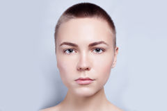 Beautiful Face Young Woman Clean Fresh Skin close up Stock Image