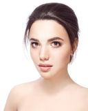 Beautiful Face of Young Woman with Clean Fresh Skin close up  Beauty Portrait. Beautiful Spa Woman Smiling. Perfect Stock Image