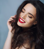 Beautiful Face of Young Woman with Clean Fresh Skin close up  Beauty Portrait. Beautiful Spa Woman Smiling. Perfect Stock Images