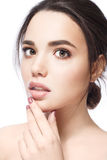 Beautiful Face of Young Woman with Clean Fresh Skin close up  Beauty Portrait. Beautiful Spa Woman Smiling. Perfect Royalty Free Stock Photography