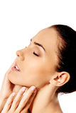 Beautiful face of young woman with clean fresh skin. Royalty Free Stock Photo