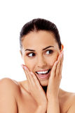 Beautiful face of young woman with clean fresh skin. Stock Image