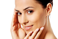 Beautiful face of young woman with clean fresh skin. Stock Images