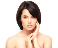 Beautiful Face of Young Woman with Clean Fresh Skin Royalty Free Stock Photo