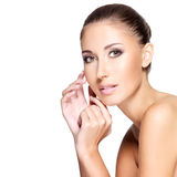 Beautiful face of a young woman with clean healthy skin Royalty Free Stock Photos