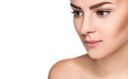 The beautiful face of young woman with cleanf fresh skin Stock Photo