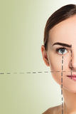 The beautiful face of young woman with cleanf fresh skin Royalty Free Stock Image