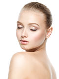 Beautiful face of young woman with closed eyes royalty free stock photos