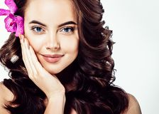 Beautiful Face of Young Woman Model with Clean Fresh Perfect Hea royalty free stock images