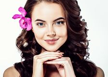 Beautiful Face of Young Woman Model with Clean Fresh Perfect Hea royalty free stock photo