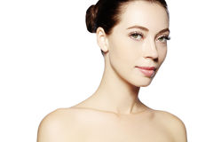 Beautiful face of young woman. Skincare, wellness, spa. Clean soft skin, healthy fresh look. Natural daily makeup.  royalty free stock photography