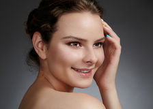 Beautiful face of young woman. Skincare, wellness, spa. Clean soft skin, healthy fresh look. Natural daily makeup stock photos