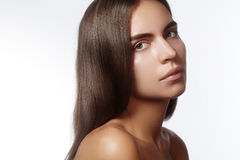Beautiful face of young woman. Skincare, wellness, spa. Clean soft skin, healthy fresh look. Natural daily makeup Stock Image