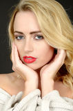 Beautiful Facial Portrait of a Young Woman Royalty Free Stock Photos